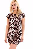 Ladies Womens Plain Bodycon Short Sleeve Long Top Ladies Stretch Mini Dress 8-26