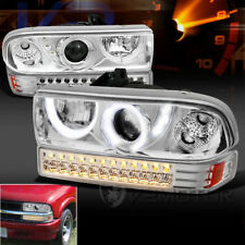 1998-2004 Chevy S10 Blazer Halo LED Clear Projector Headlights+LED Bumper Lights