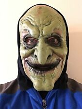 ADULT HALLOWEEN GREEN WICKED WITCH SOFT FOAM FANCY DRESS BLACK HOOD HOODED MASK