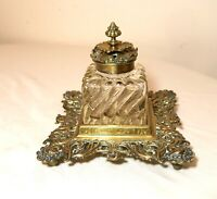 LARGE antique 1800's French brass crystal glass inkwell writing desk jar stand