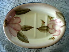 Beautiful HOME INTERIORS Pink & Tan Magnolia Oval Ceramic Soap Dish