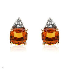 Beautiful Citrine & Diamond Earrings, 1.95ctw, 10K Yellow Gold, 7mm x 10mm