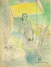 SAUL LISHINSKY (1922-2012) - ABSTRACT COMPOSITION DRAWING WITH WOMAN IN MOTION