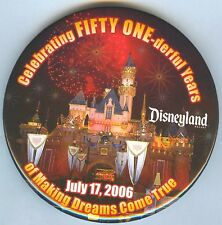 DLR Celebrating Fifty One-derful Years 7-17-06 Sleeping Beauty Castle Button!