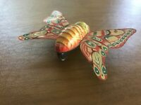Vintage Friction Tin Litho Toy  Butterfly w/Wings Alps Made in Japan WORKS!