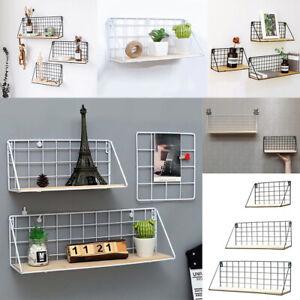 Industrial Wall Mounted Shelf Metal Wire Floating Shelves Wooden Storage Rack UK