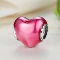 Solid 925 Sterling Silver Rose Love Heart Charm Bead fit DIY European Bracelet