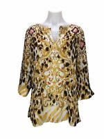Chico's 1 Women's Size M Embellished Tunic Top 3/4 Sleeve Satin Top Blouse
