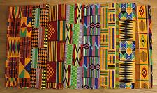 Fat Quarter Bundle Kente Print Fabric Rainbow Colors 4 Patching,Quilts,Crafts