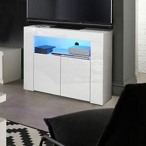 Corner TV Unit Stand Cabinet White Gloss &Matt Led Lights UK