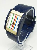 2003 Square Blue and White Swiss Made Swatch Watch for men and women | RARE