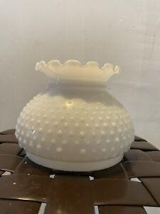 """VINTAGE WHITE MILK GLASS HOBNAIL HURRICANE LAMP SHADE GLOBE - 6 7/8"""" Fitter"""