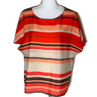 Ann Taylor Loft Womens Top Scoop Neck Blouse Striped Shirt Work Ladies Size XL