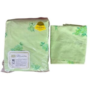 70s Vintage Sears KING Fitted Sheet & Queen Pillowcase GREEN BLOSSOMTIME UNUSED