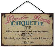 Powder Room Etiquette 5x8 Sign Bathroom Ladies Men Decor Guest House Accessories