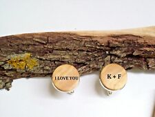 Personalised Wood Cufflinks, engraved with custom message, name or text in Wood