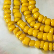 "Rare Antique Yellow Tribal Trade Glass Bead Strand 23.74"" Western-Papua 18.04 g"