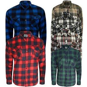 Men Thermal Brushed Fleece Lumberjack Shirt Check Casual Winter Warm Work M-3XL