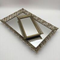 "LOT / 2 Vintage Gold Metal Footed Filigree Vanity Mirrors DRESSER TRAYS 15"" & 9"""