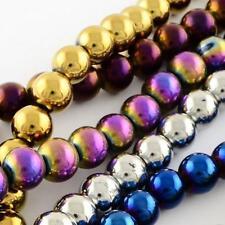 Metallico placcato Mardi Gras Perline in Vetro 8 mm 40 PER VALIGIA colori diversi