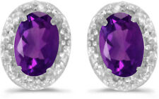 14k White Gold Oval Amethyst And Diamond Earrings (CM-E2615XW-02)