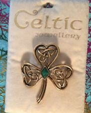 CELTIC STYLE PURPLE AMETHYST GLASS  GOLD TONE  LAPEL PIN