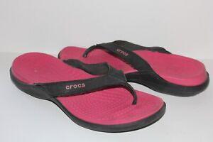 Women's CROCS Sandals Size 10 Flip Flops Thong Leather Strap Pink Black Shoes