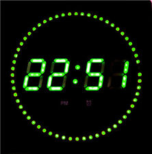 LED digital Wall clock with date- & temperature display noiselessly in green