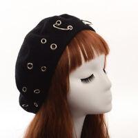 Vintage Harajuku Girls Beanie Punk Iron Ring Beret Lolita Girls Painter Hat