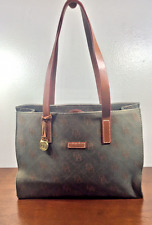 Dooney and Bourke, Green Monogram Canvas Leather, Tote Purse