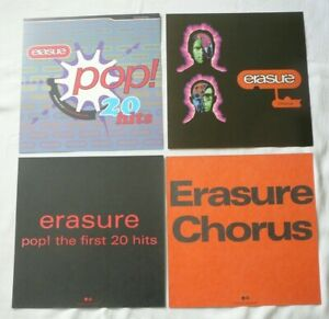 ERASURE 1991 / 1992 SET OF FOUR LP TWO SIDED STORE PROMO FLATS