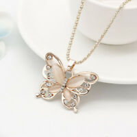 Womens Lady Girl Rose Gold Butterfly Pendant Necklace Sweater Chain Gift