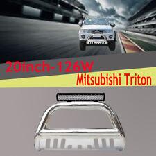 "Mitsubishi Triton Nudge Bar 3"" Stainless Steel 2009-2014+126w Cree Led Light Bar"