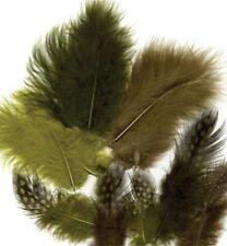 Marabu- und Perhuhnfedern 18 Stück Forest grün oliv Federn Deko 12229-2908