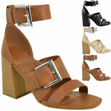 98584a6e23b0a Womens Ladies Sandals Block High Heels Strappy Summer Buckle Ankle High  Shoes