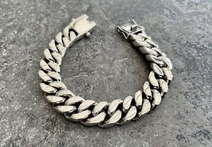 Solid 925 Sterling Silver Mens Heavy Curb Bracelet 15mm 8 Inches 119 Grams
