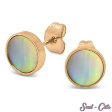 1 Pair Stainless Steel Ear Studs Rose Gold Pearl Earrings Noble Shell Earrings