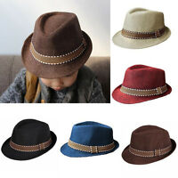 Children Kids Boys Girls Unisex Straw Fedora Trilby Panama Jazz Hat Summer