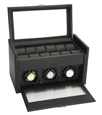 Diplomat Modena 3 + 12 Carbon Fiber Watch Winder with Storage 34-703