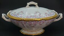 Elite Limoges Rose Swags Purple Gold Covered Vegetable Bowl - B