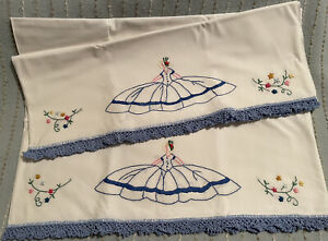 Vintage Hand Embroidered Pillowcase Pair Southern Bell Charm  Crocheted Edge