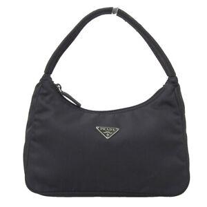 PRADA Nylon Tessuto Mini Hand Tote Bag Pouch Women Black Excellent N1834