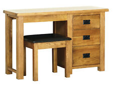 Original Rustic Solid Oak Wooden 3 Drawer Pedestal Dressing Table With Stool Set