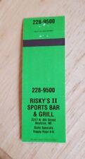 Vintage Matchbook Risky's II Sports Bar Grill Beatrice Nebraska Restaurant Green