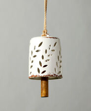 Leaves Cutout White Stoneware Bell with Wooden Clapper Garden Wind Chime