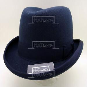CLASSIC Wool Felt Men Homburg Top Hat Gentlemen Fedora Victorian | 59cm | Navy