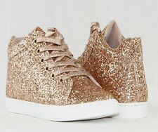 Women High Top Ankle High Booties Glitter Sneakers Lightweight Lace Up Shoes