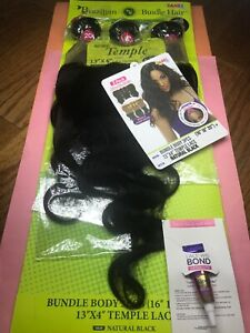 """Janet_Collection Brazilian_Virgin_BODY_WAVE_16"""", 18"""", 20"""" + 13""""X4"""" TEMPLE LACE"""