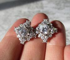 Sonia Bitton Platinum Emb. Sterling Silver Brilliante Simulated Diamond Earrings