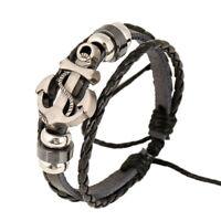 Bracelet Noir en Cuir Tressé avec une Ancre Marine Porte-Bonheur Homme Femme